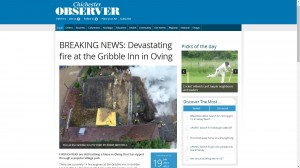 Chichester Observer Screenshot - Gribble Inn Fire